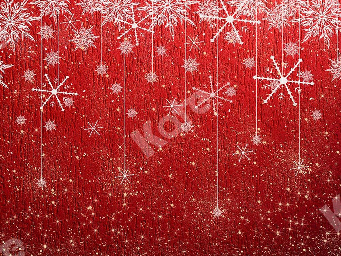 Kate Xmas Backdrop Snowflake Red Christmas Designed by Chain Photography