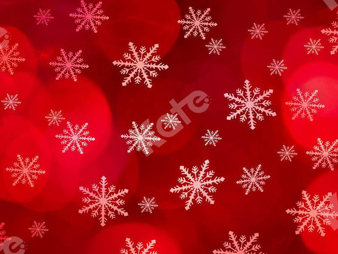 Kate Xmas Backdrop Snowflake Red Bokeh Designed by Chain Photography