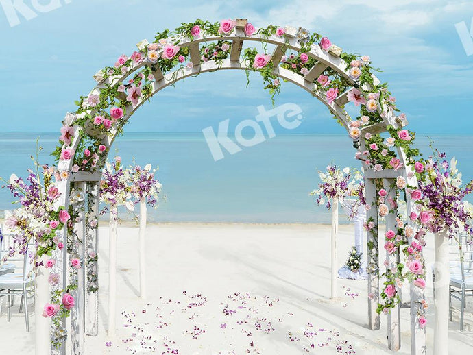 Kate Wedding Backdrop Beach Flowers Arch Designed by Chain Photography