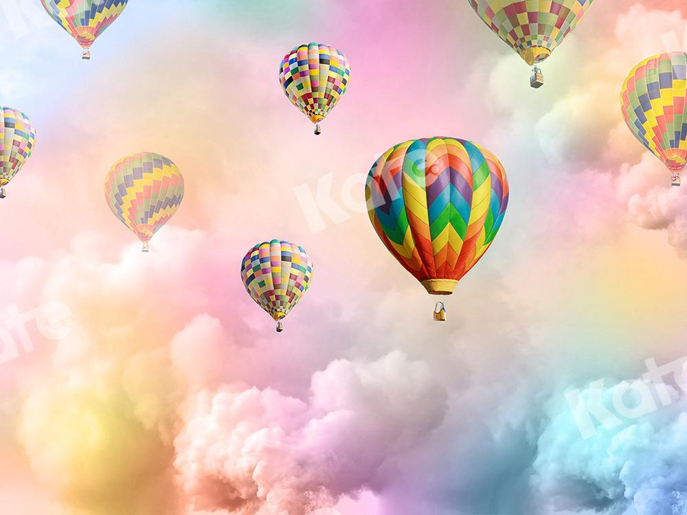 Kate Cake Smash Backdrop Rainbow Clouds Hot Air Balloons Designed by Chain Photography