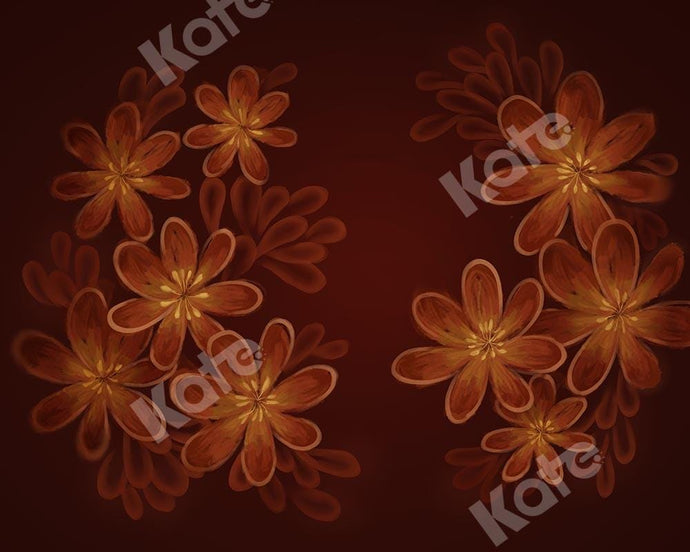 Kate Fine Art Orange Florals Backdrop Designed by Chain Photography