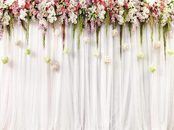 Kate Wedding Background White Curtain decorate Flower Backdrop