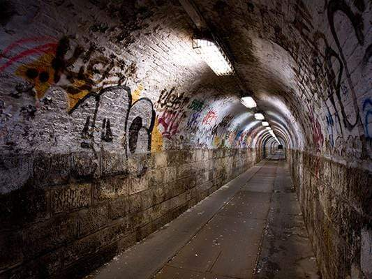 Katebackdrop:Kate Graffiti Wall Tunnel Building Backdrop For Photography