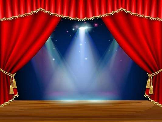 Katebackdrop:Kate Red Curtain Stage Blue Background Light Backdrop