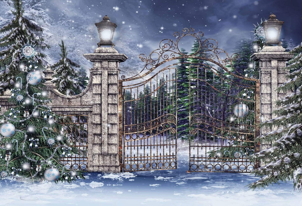 Katebackdrop£ºKate Gate and Christmas Tree With Snow For Photography