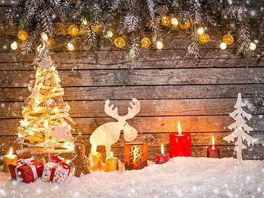Katebackdrop:Kate Christmas Photo Backdrop Snow Wooden Light Wall