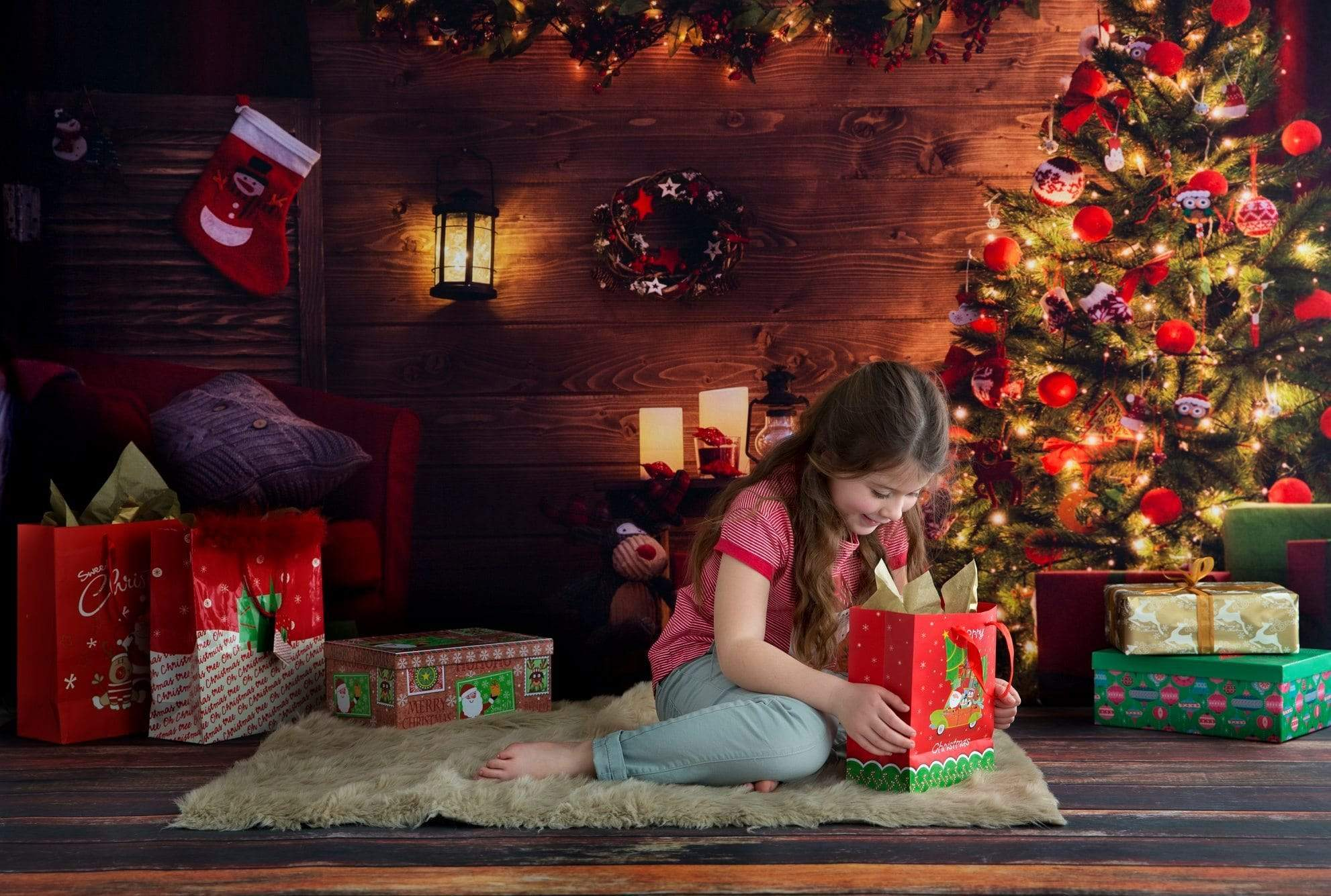 Load image into Gallery viewer, Katebackdrop£ºKate santa's workshop Light Christmas Backdrop