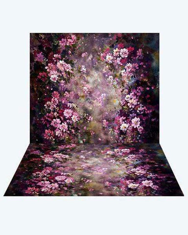 Kate Fantasy Purple Flowers Valentines Backdrop+ Fantasy Purple Flowers Rubber Floor Mat