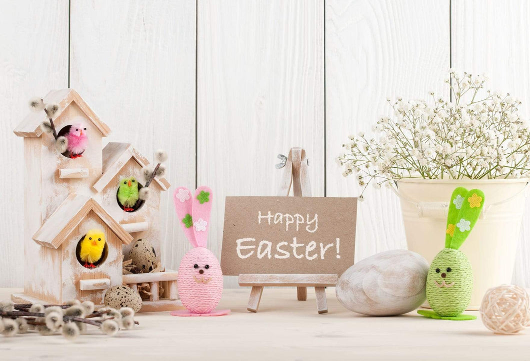 Katebackdrop£ºKate Spring Happy Easter White Wood Description Backdrop
