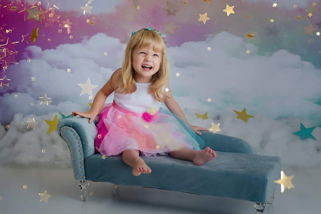 Kate Rainbow sky cloud Backdrop Pink Watercolor Background
