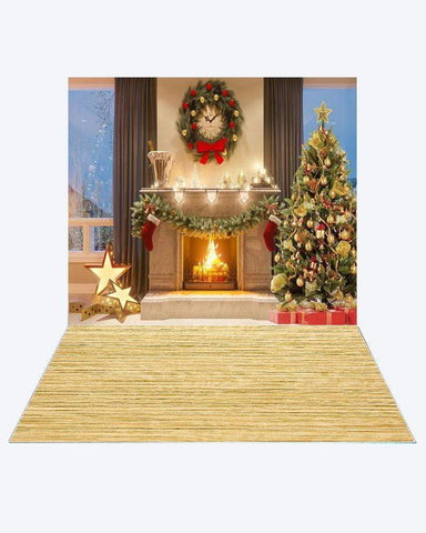 Kate Happy Christmas Fireplace Photography +Yellow wood floor mat