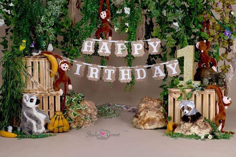 Kate Jungle cartoon zoo animals backdrop happy birthday designed by studio gumot