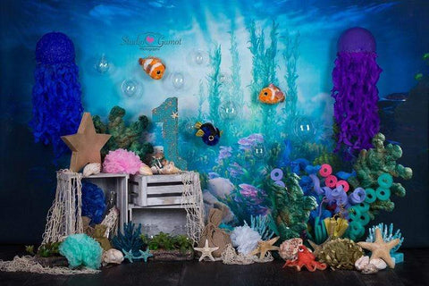 Kate mermaid under sea 1st birthday cake smash summer backdrop designed by studio gumot