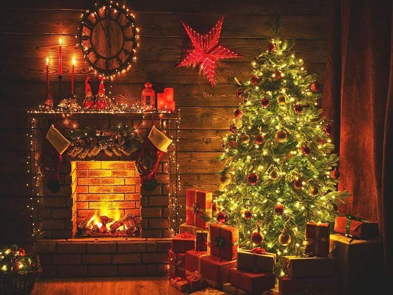 Load image into Gallery viewer, Katebackdrop£ºKate Christmas Tree Fireplace With Candle And Star for Photography