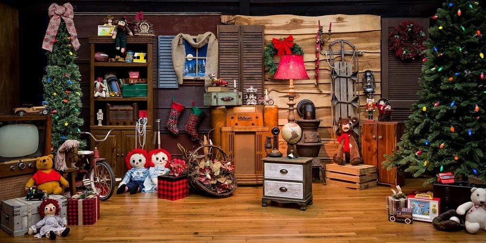 Katebackdrop:Kate Rustic Christmas Vintage Cabin Santa¡¯s toy shop Backdrop for Photography