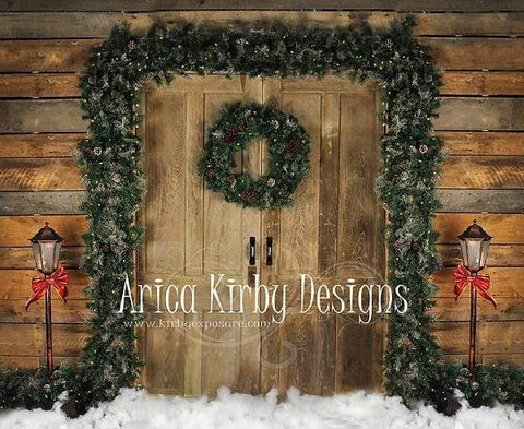 Kate Holiday Door Christmas Wreath Backdrop designed by Arica Kirby