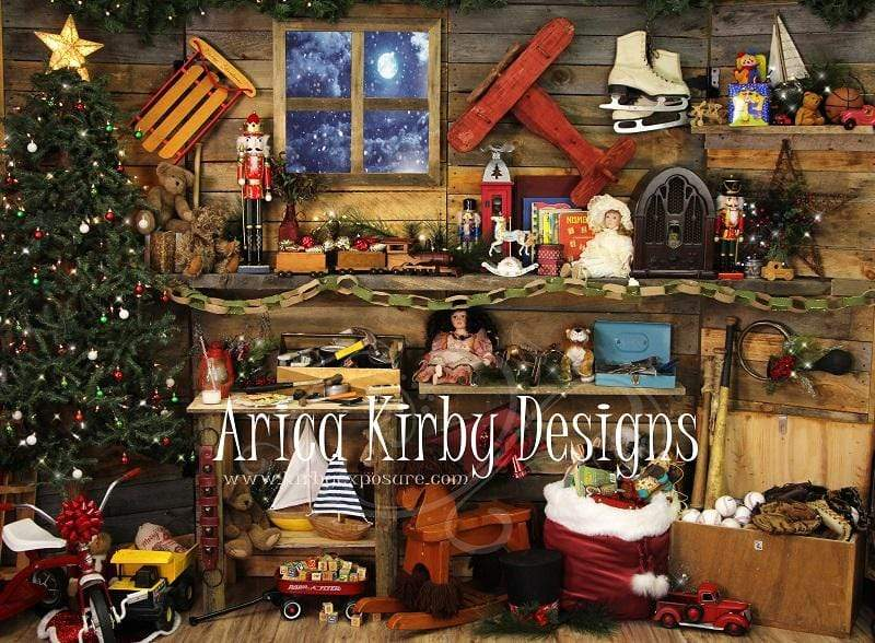 Load image into Gallery viewer, Katebackdrop:Kate Christmas Santas Workshop Backdrop designed by Arica Kirby