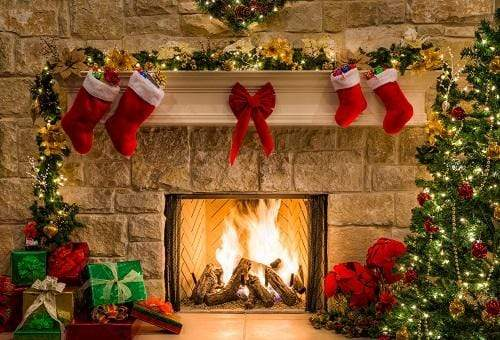 Katebackdrop£ºKate Christmas Red Socks with Fireplace Backdrop for Photography