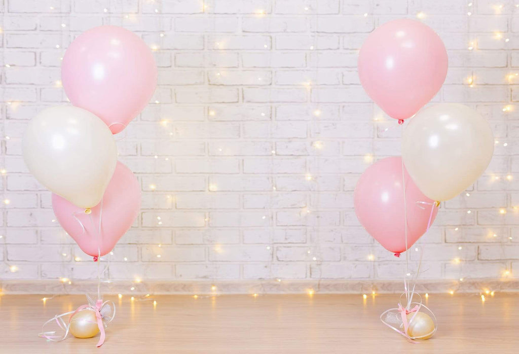 Katebackdrop£ºKate White Brick Wall with Balloons and Decorations Birthday Backdrop for Photography