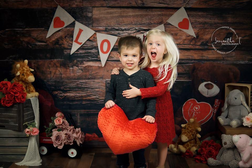 Load image into Gallery viewer, Kate Be my Valentine Wooden Wall And Teddy Bear Love Banner Backdrop Design by Shutter Swan Studios