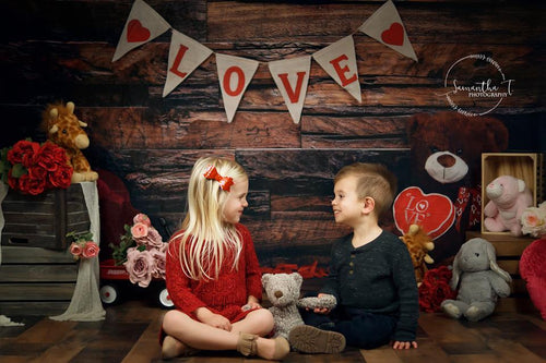 Kate Be my Valentine Wooden Wall And Teddy Bear Love Banner Backdrop Design by Shutter Swan Studios