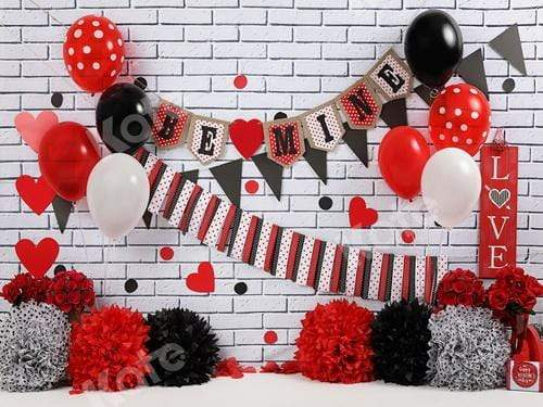 Load image into Gallery viewer, Katebackdrop:Kate Mouse Valentine Black-Red Backdrop for Photography