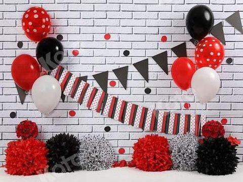 Kate Red Black & White Celebration Backdrop Design by Shutter Swan Studios