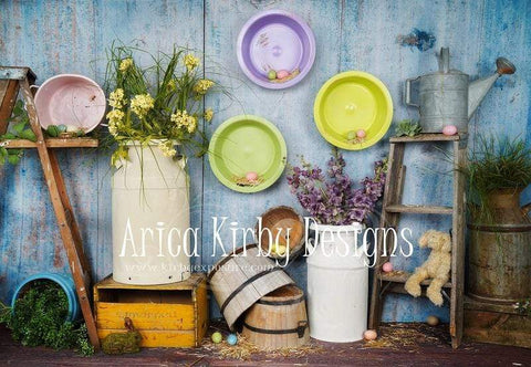Kate Blue Easter Chicken Coop backdrop designed by Arica Kirby