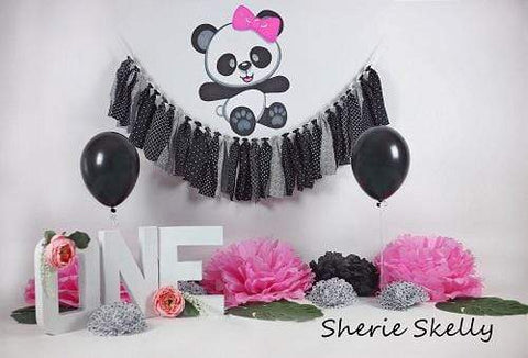 Kate Pretty Panda Birthday Children Backdrop for Photography Designed by Sherie Skelly