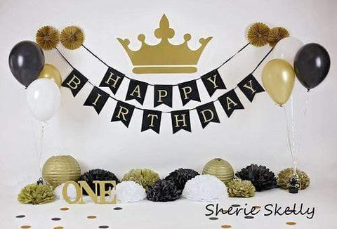 Kate Gold and Black Balloons Royal Birthday Children Backdrop for Photography Designed by Sherie Skelly