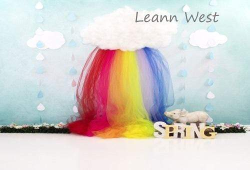 Katebackdrop£ºKate Rainy Spring Rainbow with Decorations Children Backdrop for Photography Designed by Leann West