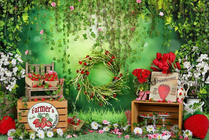 Load image into Gallery viewer, Kate Summer Strawberry and White Flower Green Leaves With Banners Backdrop