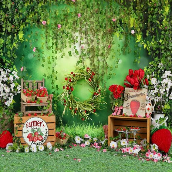 Kate Summer Strawberry and White Flower Green Leaves With Banners Backdrop