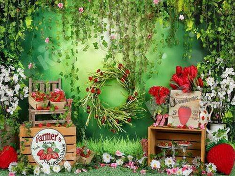 Kate Summer Strawberry and White Flower Green Leaves With Banners Backdrop for Photography Designed by Shutter Swan Studios