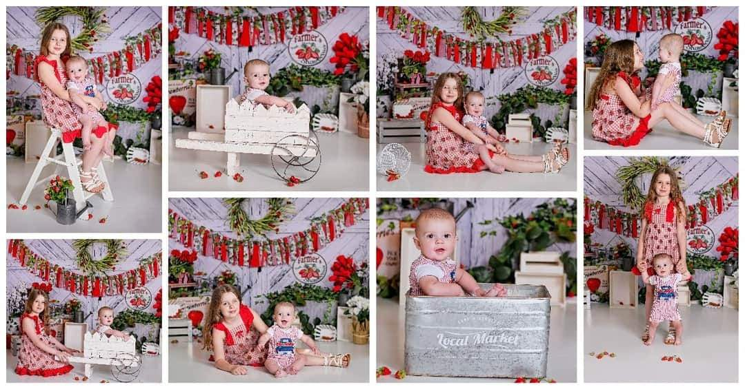 Load image into Gallery viewer, Kate Summer Strawberry White Wooden Board With Banners Backdrop