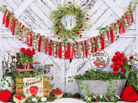 Kate Strawberry White Wooden Board With Banners Backdrop Designed by Shutter Swan Studios