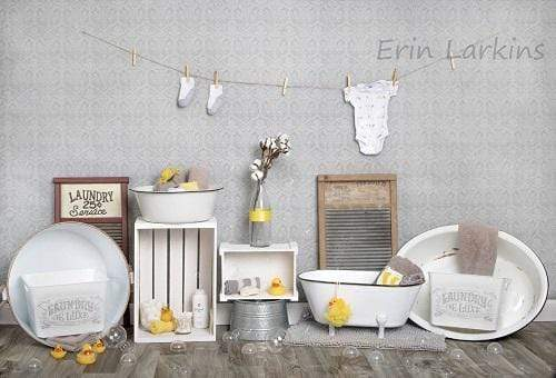 Load image into Gallery viewer, Katebackdrop£ºKate Bath Time Baby Backdrop Summer Rubber Ducks and Bubbles Photos Designed by Erin Larkins