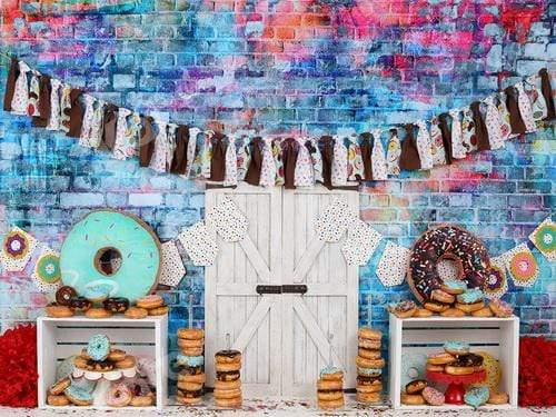 Katebackdrop£ºKate Donut Brown Banners Children Birthday Backdrop