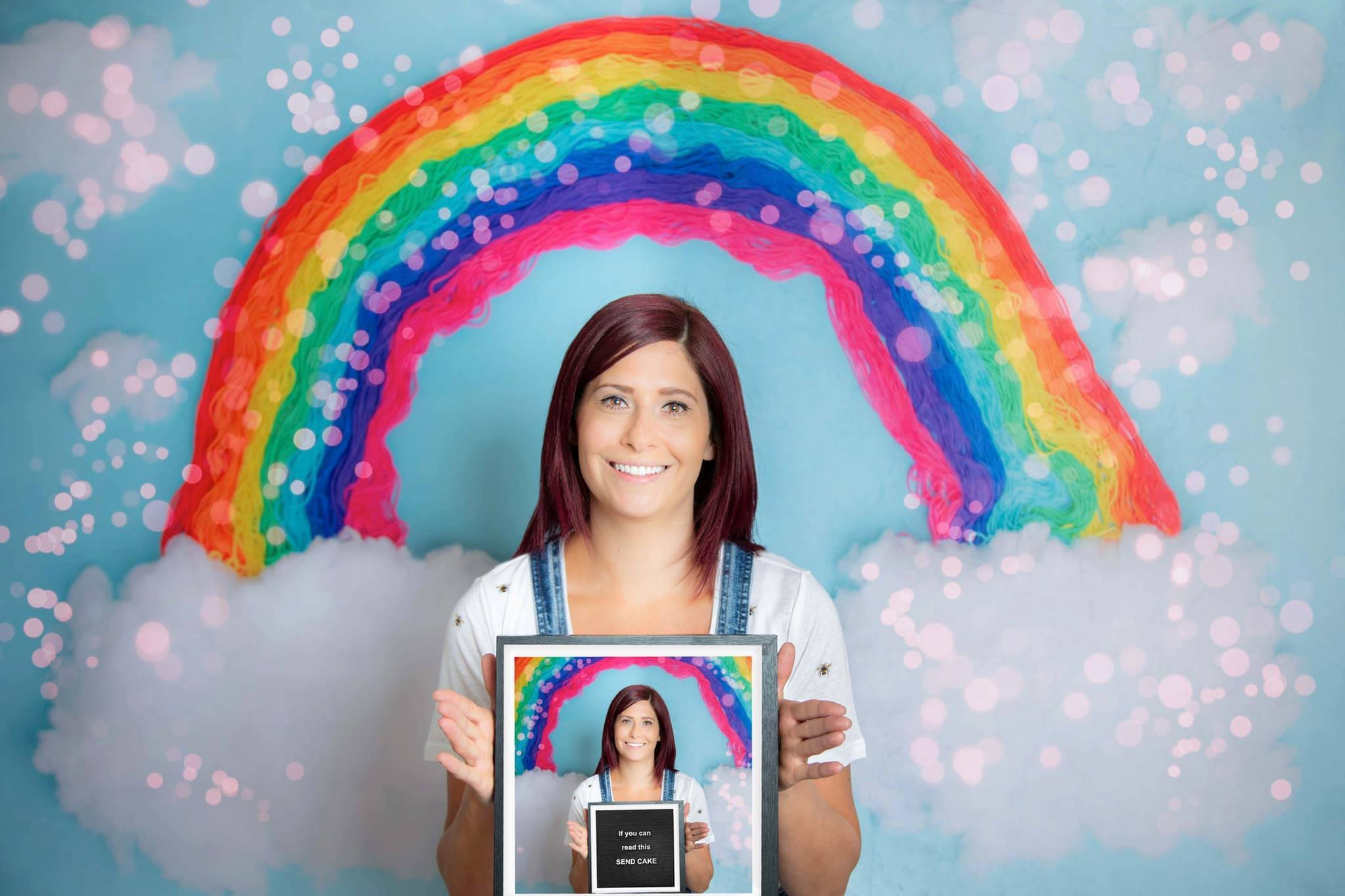 Load image into Gallery viewer, Kate Blue Background with Rainbow Children Backdrop for Photography Designed by Erin Larkins