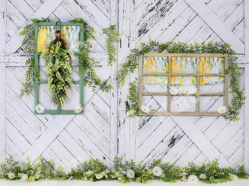Katebackdrop£ºKate Retro Wood Lemon color and Daisies  Spring Backdrop
