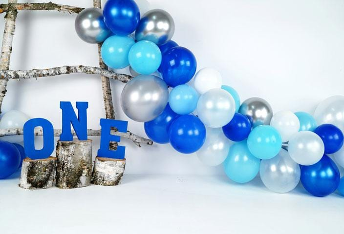 Load image into Gallery viewer, Kate Birchy Blue Balloons First Birthday Backdrop Designed by Arica Kirby