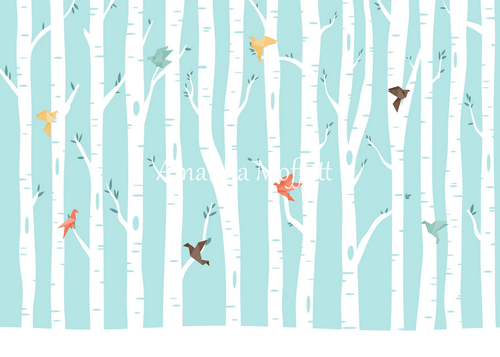 Kate Origami Birds in Birch Forest Backdrop for Photography Designed by Amanda Moffatt