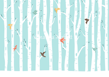 Load image into Gallery viewer, Kate Origami Birds in Birch Forest Backdrop for Photography Designed by Amanda Moffatt