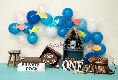 Load image into Gallery viewer, Kate Fish and Balloons Birthday Baby summer Backdrop for Photography Designed by Amberly Ware