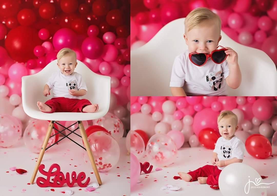 Load image into Gallery viewer, Kate Valentines Day Balloon Wall Backdrop for Photography Designed by Mandy Ringe Photography