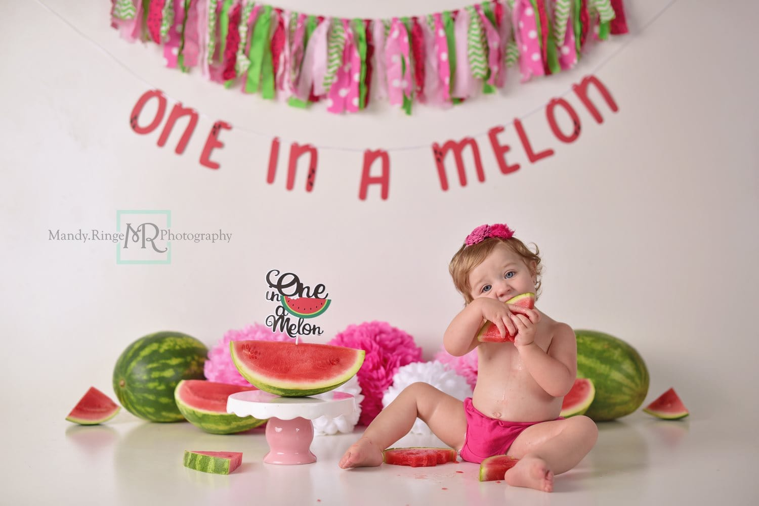 Load image into Gallery viewer, Kate Summer One in A Melon First Birthday Backdrop for Photography Designed by Mandy Ringe Photography