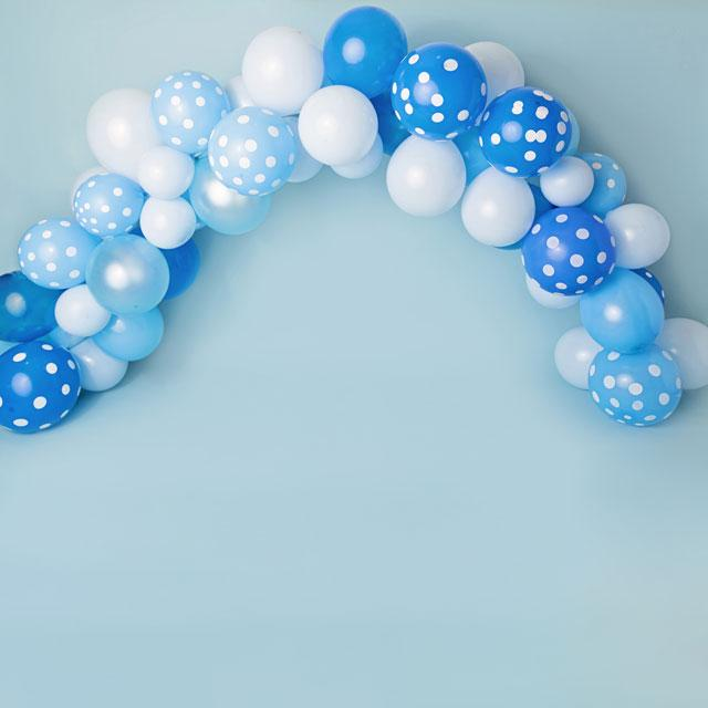 Load image into Gallery viewer, Kate Blue and White Balloons Birthday Children Backdrop for Photography Designed by Kerry Anderson