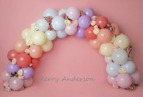 Load image into Gallery viewer, Katebackdrop£ºKate Rainbow Floral Balloons Birthday Children Backdrop for Photography Designed by Kerry Anderson
