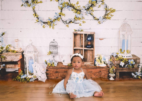 Kate Enchanted Blue Floral Wreaths Backdrops Designed by Arica Kirby