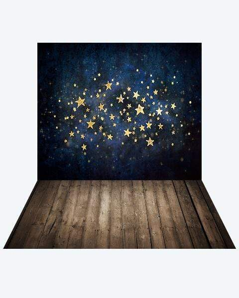 Katebackdrop¡êoKate Night Sky with Gold Stars Children Backdrop Designed by Mandy Ringe Photography + Dark Wood Rubber Floor Mat